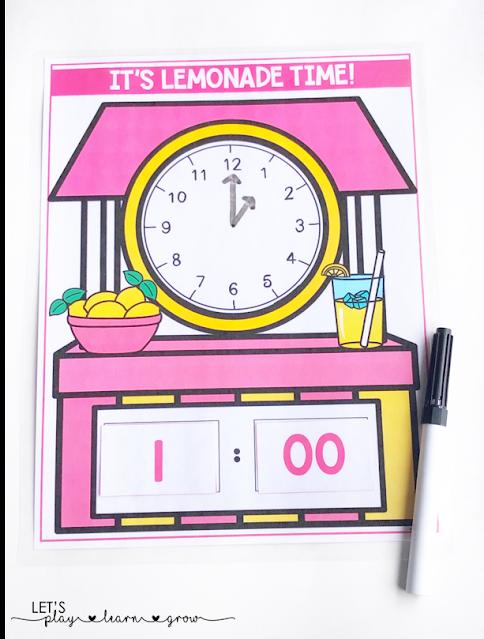 Lemonade Themed Telling Time Activity