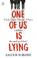 one of us is lying uk book cover by karen m. mcmanus