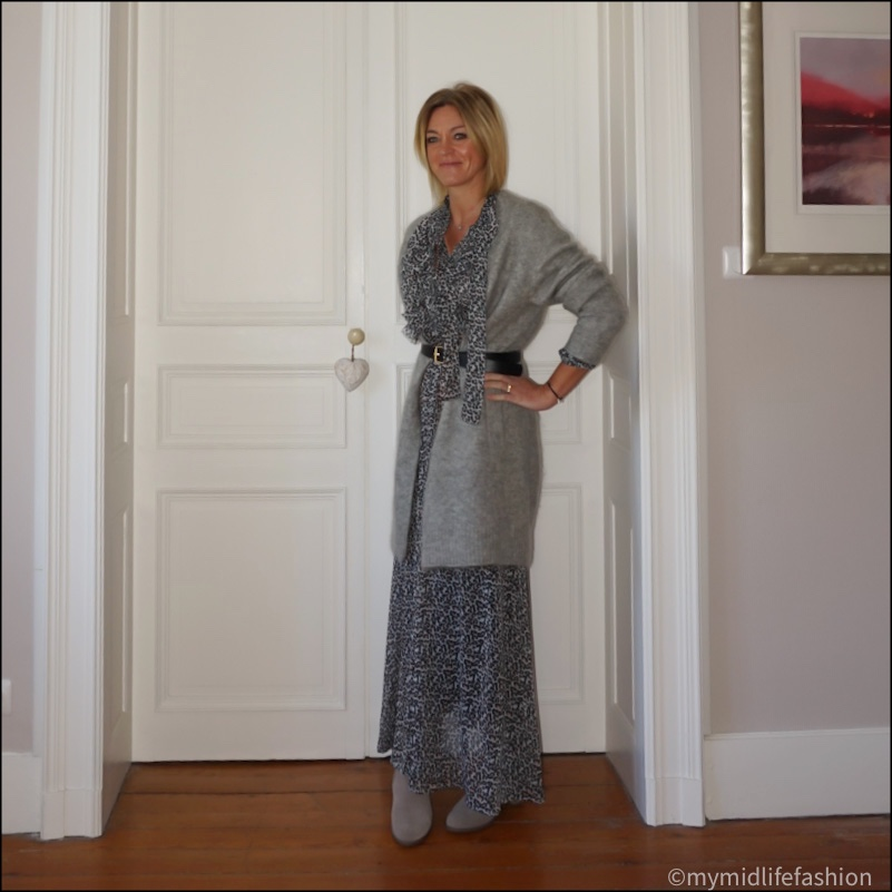 my midlife fashion, boden classic buckle belt, lily and Lionel leopard print maxi dress, Ecco ankle boots, acne studios raya cardigan