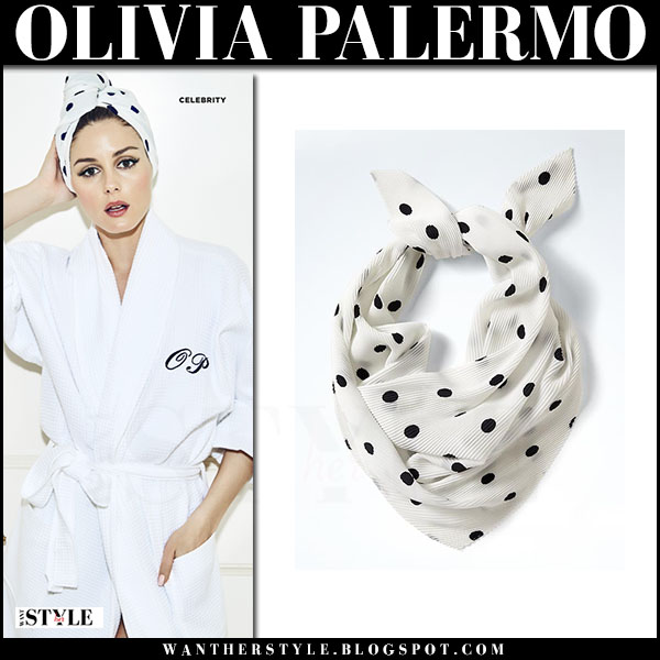 Olivia Palermo in white polka dot turban banana republic and white bath robe the fine cotton company cosmopolitan june 2017 what she wore