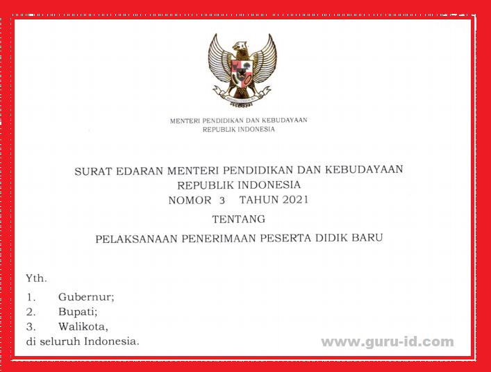 gambar surat edaran mendikbud no 3 tahun 2021