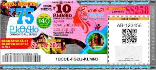 Kerala Lotteries Results 27-04-2021 Sthree Sakthi SS-258 Lottery Result
