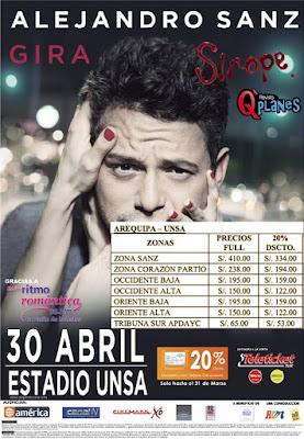 Alejandro Sanz en Arequipa - venta de entradas
