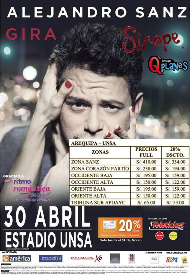Alejandro Sanz en Arequipa - Venta de Entradas - 30 de abril