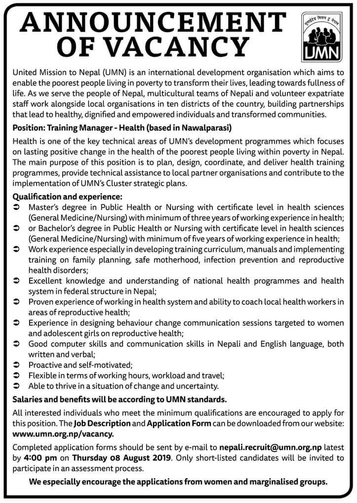 United Mission to Nepal (UMN) Vacancy for Training Manager - Health