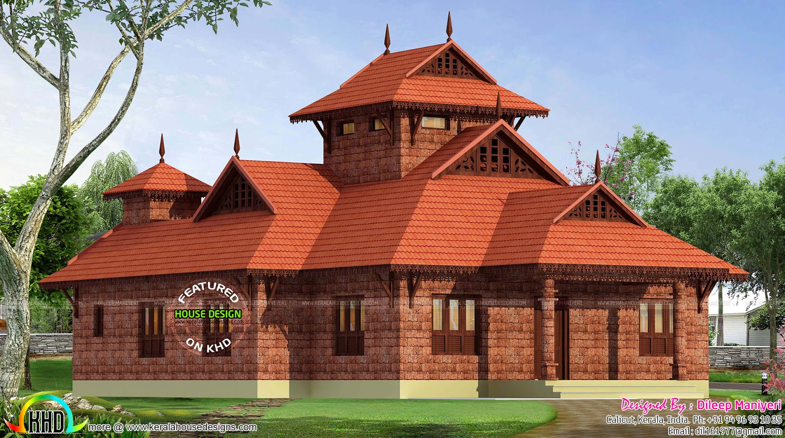 Traditional laterite 1748 sq ft home kerala home design for Traditional home designs