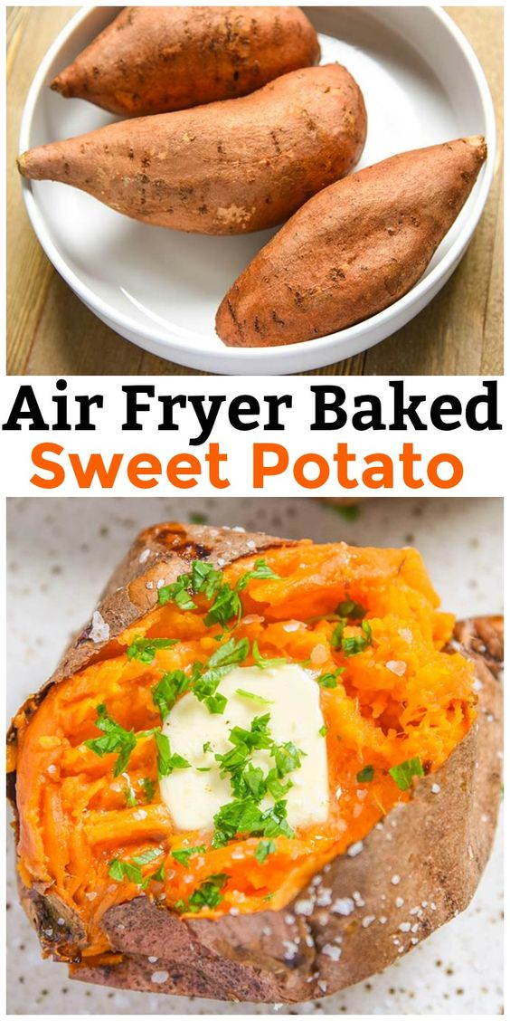 Air Fryer Baked Sweet Potato #recipes #dinnerrecipes #funrecipestomakefordinner #food #foodporn #healthy #yummy #instafood #foodie #delicious #dinner #breakfast #dessert #lunch #vegan #cake #eatclean #homemade #diet #healthyfood #cleaneating #foodstagram
