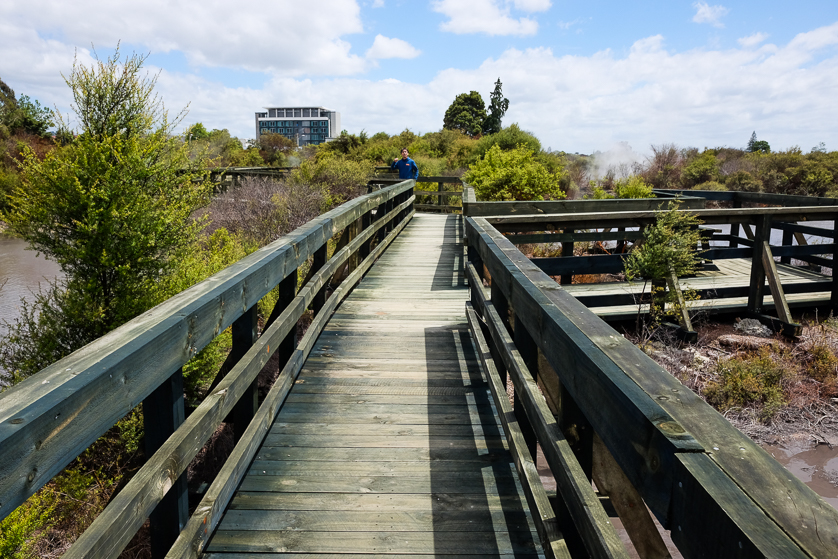 Walkways around the geothermal features surrounding Whakarewarewa Village