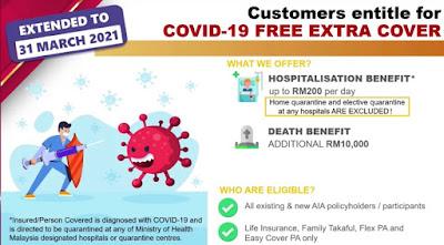 Kena kuarantin Covid 19 AIA bagi RM200 sehari