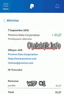 bukti pembayaran premise data or payment proof