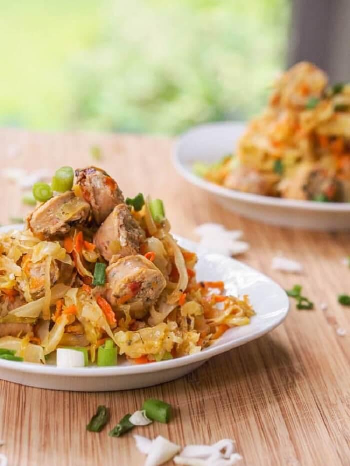 Chicken Sausage & Cabbage Hash