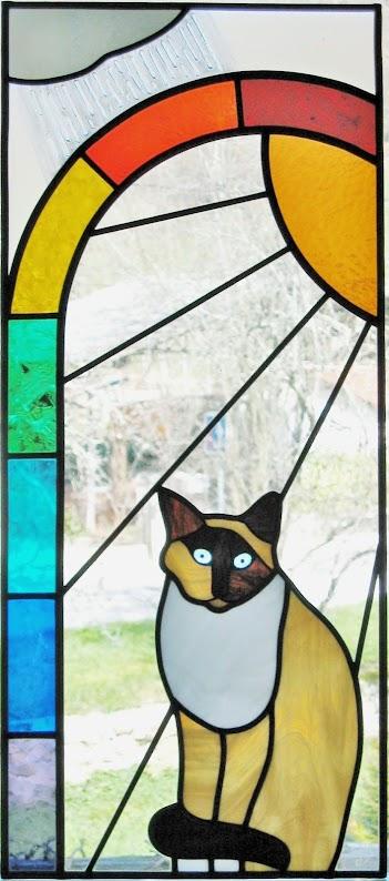 Vitrail chat, fenêtre