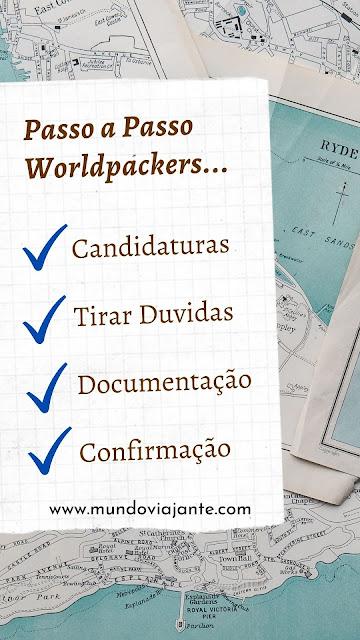 poster com mapa mundi no fundo escrito passo a passo worldpackers