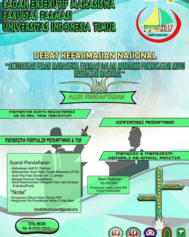 Lomba Debat Kefarmasian Nasional Untuk Mahasiswa | Univ. Indonesia Timur Makassar | Deadline 19 November 2017
