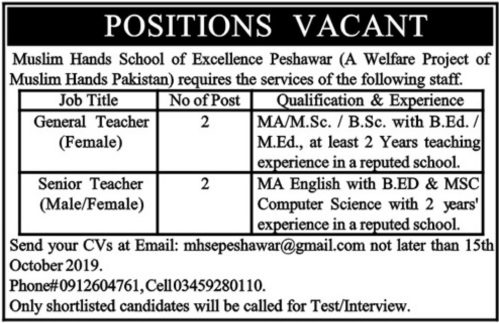 Jobs In Muslim Hands School of Excellence 2019