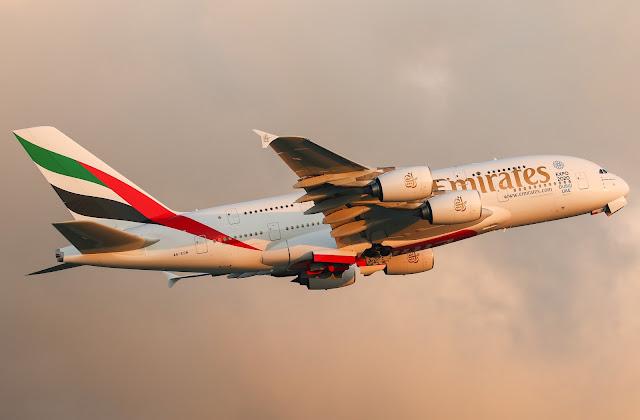 emirates a380 sunset scene
