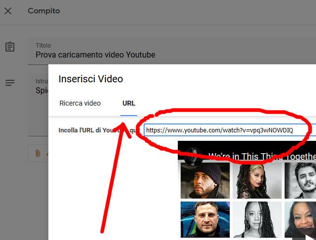 Collegamento video Youtube su Google Classroom