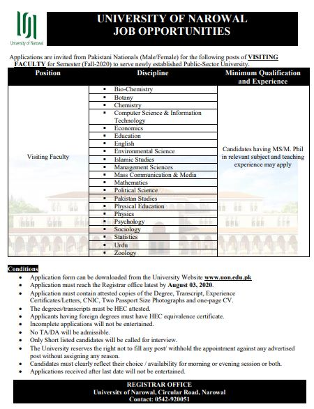 Visiting Teaching Jobs 2020 – Download Form