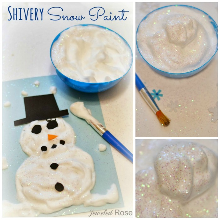 ICY COLD SNOW PAINT THAT DRIES PUFFY & RAISED- so cool!  (only 2 ingredients!) #snowpaint #wintercraftsforkids #kidscrafts