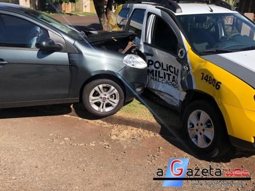Veículo bate em viatura da PM e policial fica ferido em Marechal Rondon
