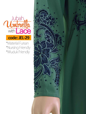 Jubah Umbrella Lace JEL-29 Sea Green Tangan 1