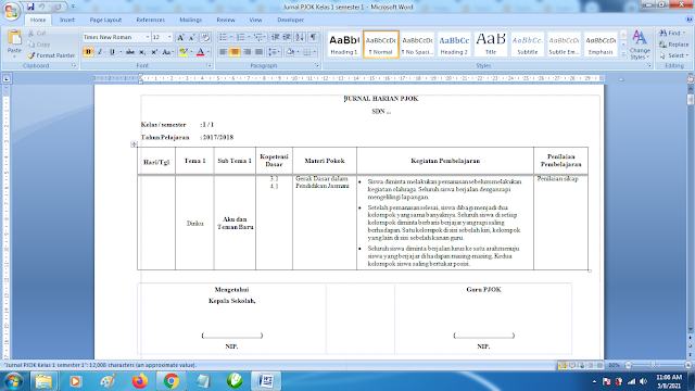 Contoh Format Jurnal Harian PJOK Kelas 1 SD Semester 1 k13 Revisi Terbaru