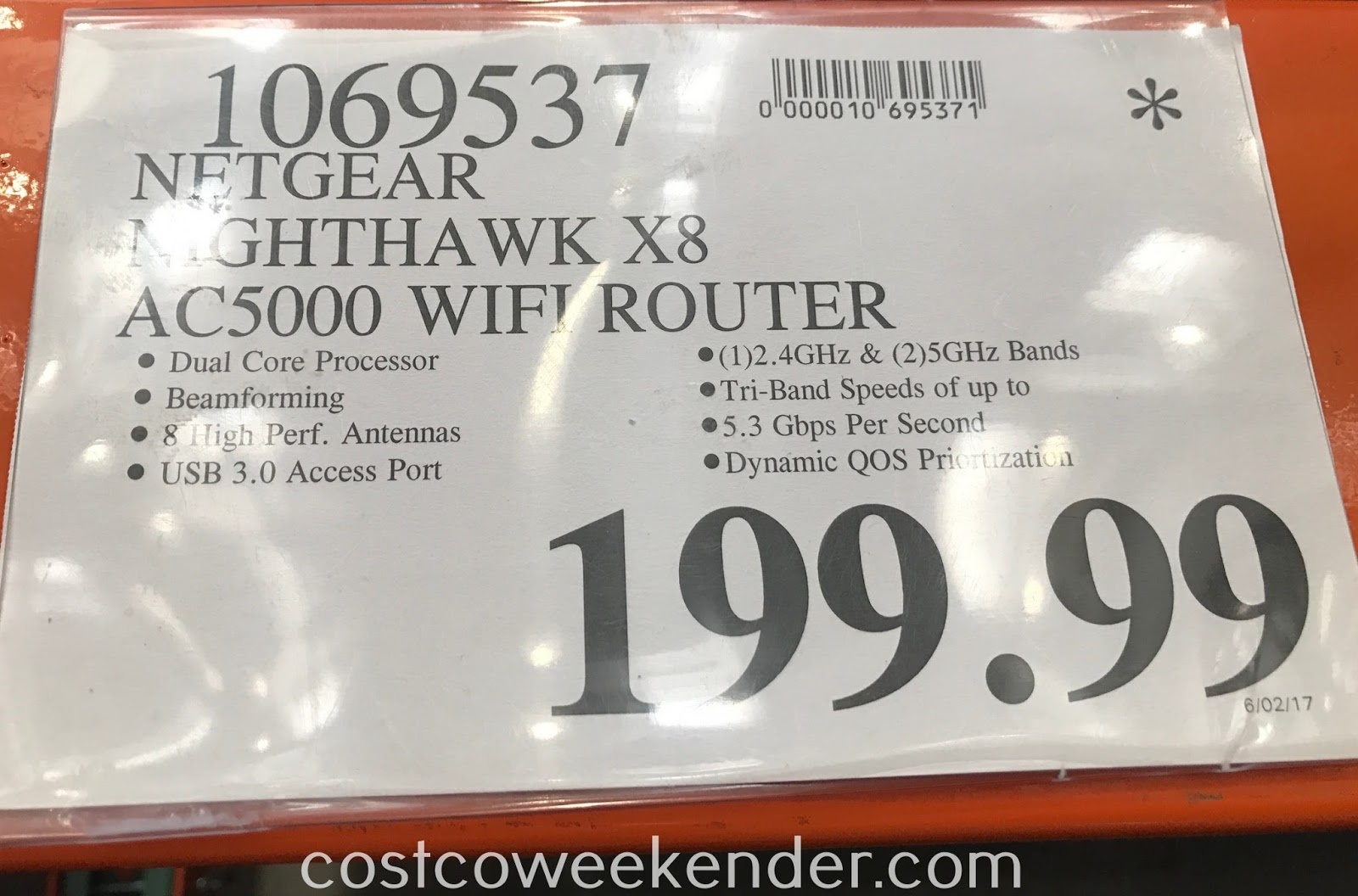 Deal for the Netgear Nighthawk X8 AC5000 Smart WiFi Router (R8300) at Costco