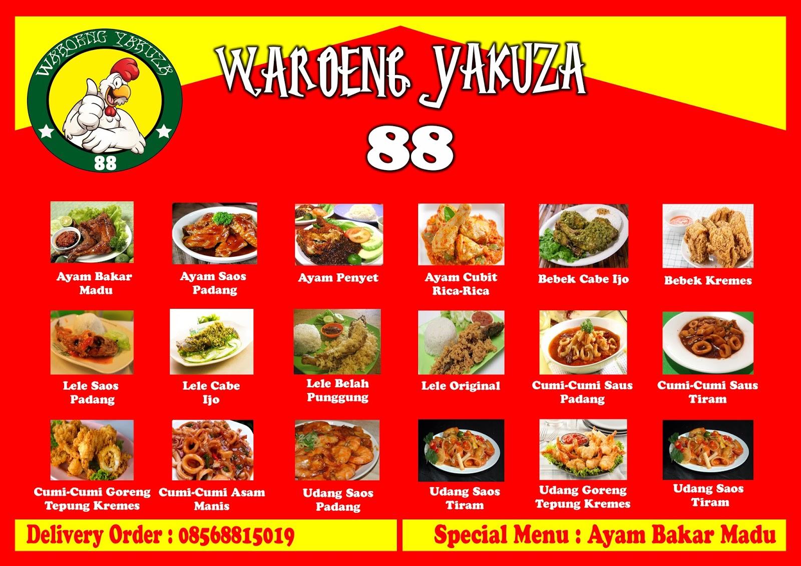 Desain Complete Logo Daftar Menu Brosur Spanduk Banner Dan Cover Daftar Menu Perusahaan Makanan Waroeng Yakuza Di Bekasi