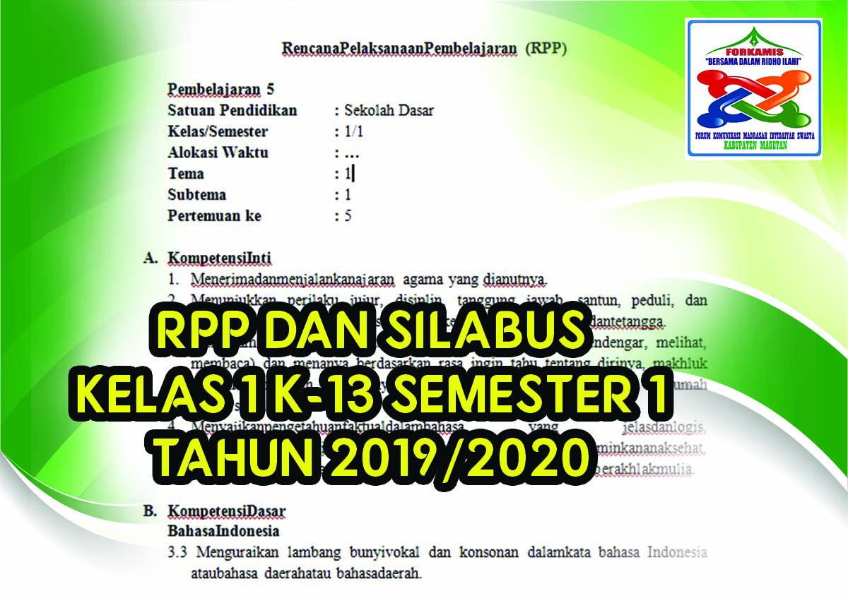 Rpp Dan Silabus Kelas 1 Kurikulum 2013 Lengkap Semester 1 2020 Forkamis