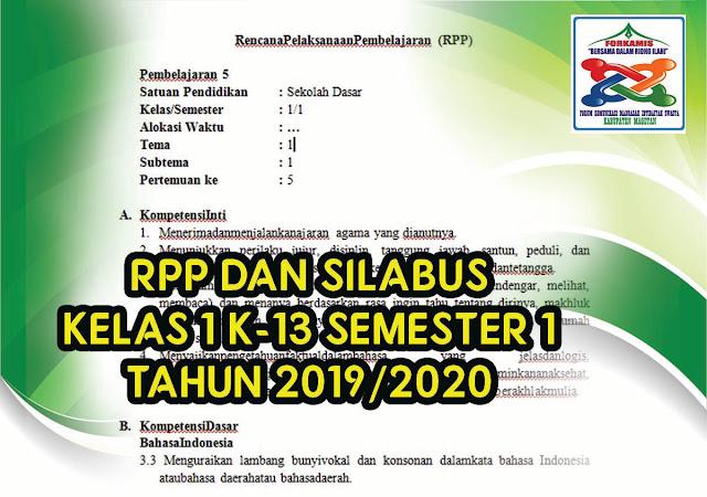 RPP dan Silabus Kelas 1 Kurikulum 2013 Lengkap (Semester 1) 2020