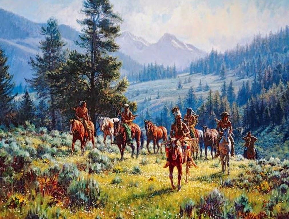 cuadros-de-paisajes-del-oeste-con-indios-y-caballos