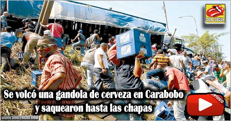 Se volcó una gandola de cerveza en Carabobo y saquearon hasta las chapas