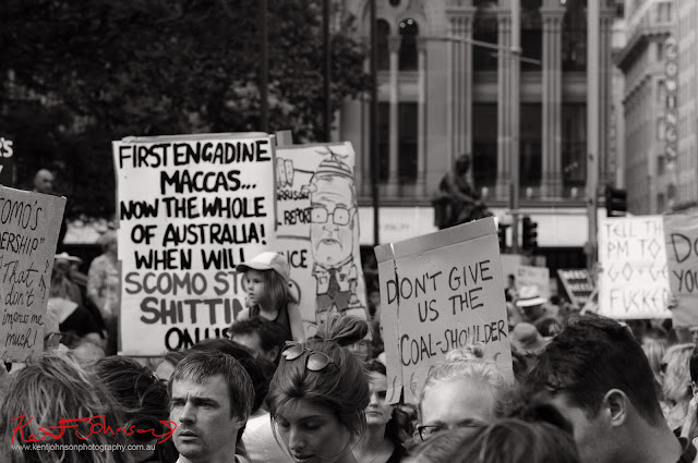 Sydney Climate Rally 'Engadine' Poop sign