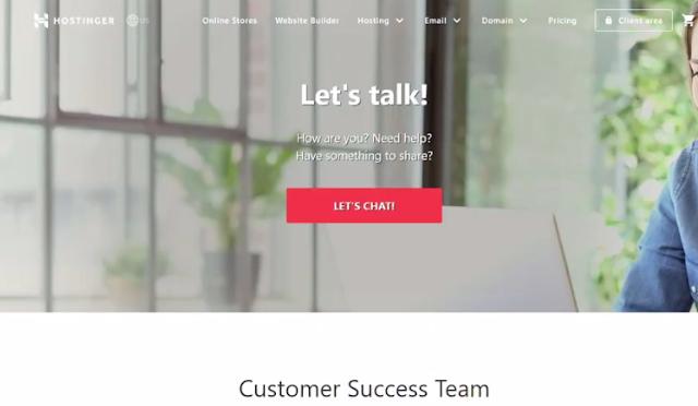 customer support of hostinger