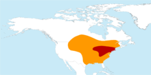 Passenger Pigeon breeding and distribution map