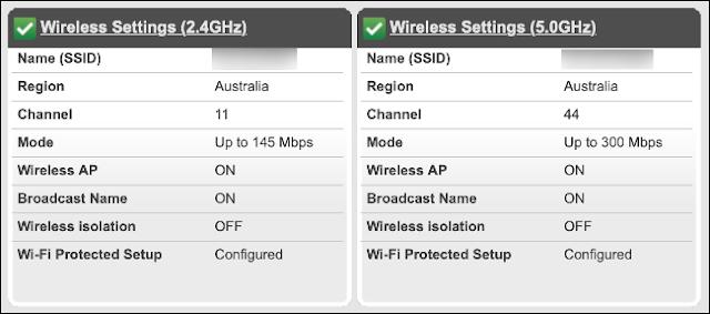 تحقق من وضع علامة على قائمة الموجه مع كل من نطاقي Wi-Fi 2.4 و GHz 5