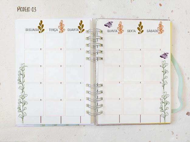 Planner semanal aberto com 6 dias da semana. Por Maria Rosa