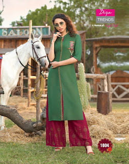Diya Trends Fusion Vol 1 Kurtis With Palazzo Collection