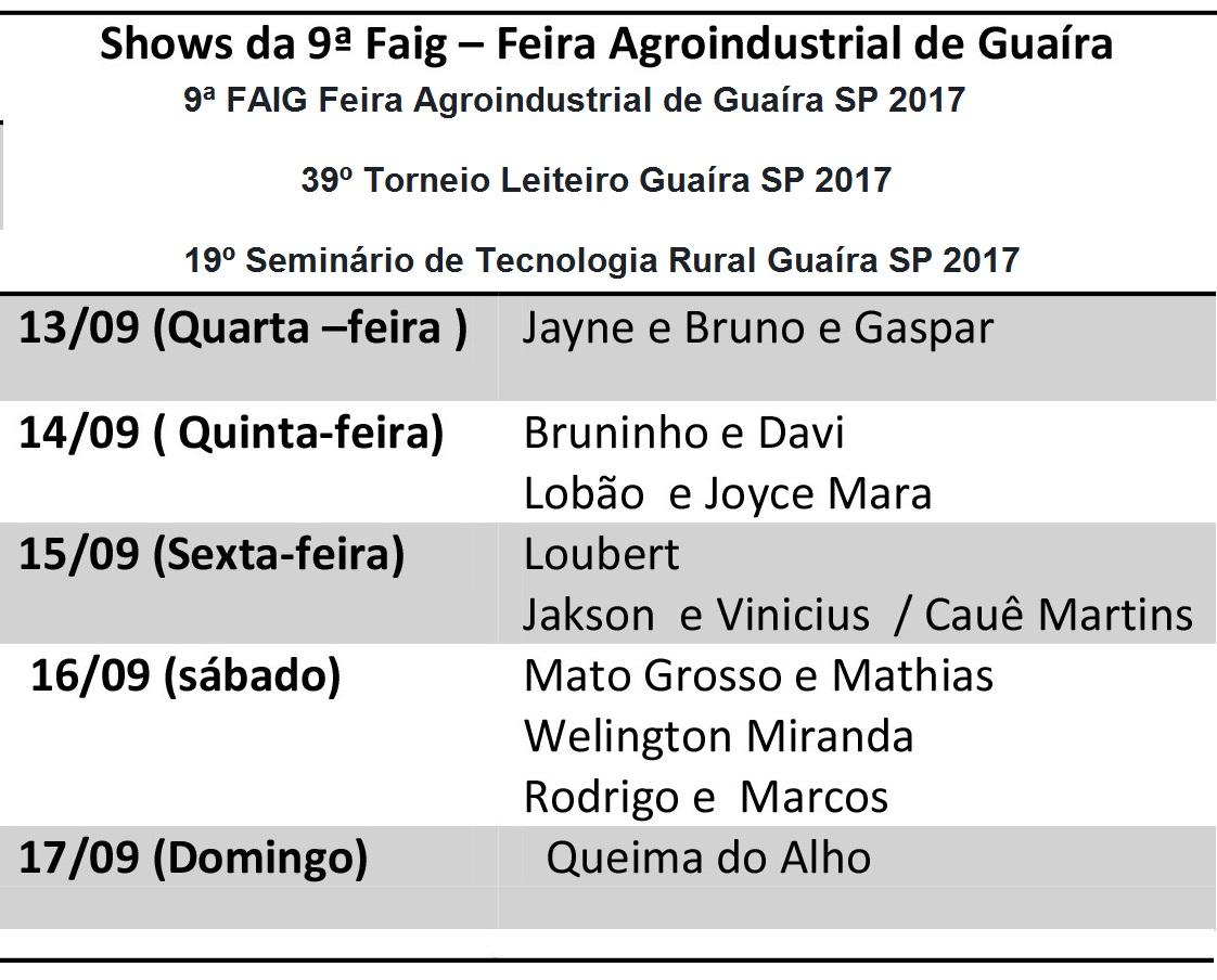 FAIG Torneio Leiteiro Seminário Tecnologia Rural Guaíra SP 2017