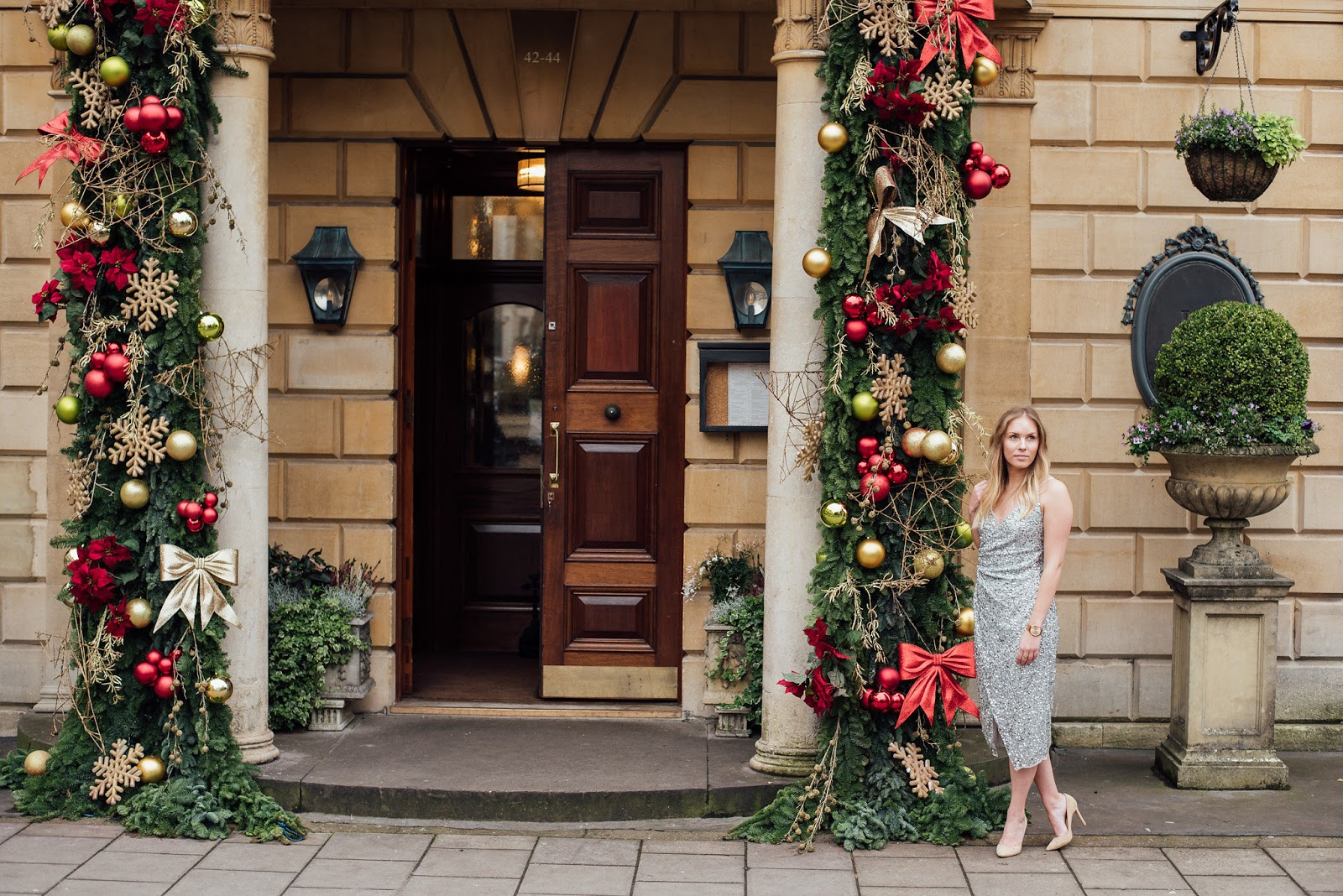 Fashion | The Only Dress You Need For The Christmas Party Season Christmas Party Dress Outside the Ivy Clifton Brasserie with Christmas Decorations