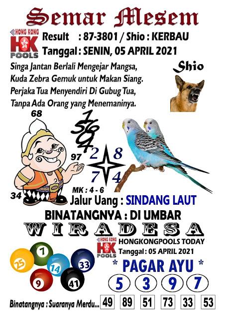 Syair Semar Mesem HK Senin 05 April 2021