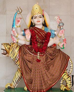 Amba Mata riding a tiger, who is worshiped during Navratri