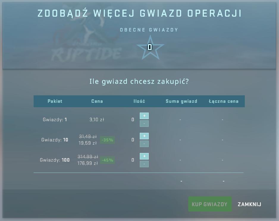 Zakup gwiazdek operacji Riptide CS GO