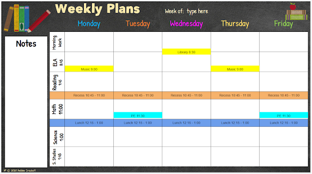 Editing the Weekly Plan table for digital planner on Google Slides.