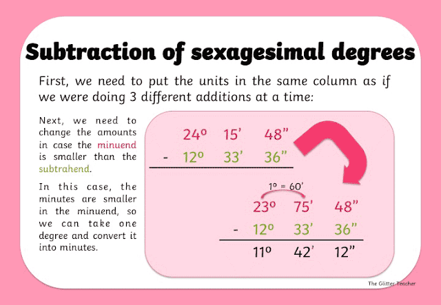 Subtraction of sexagesimal degrees