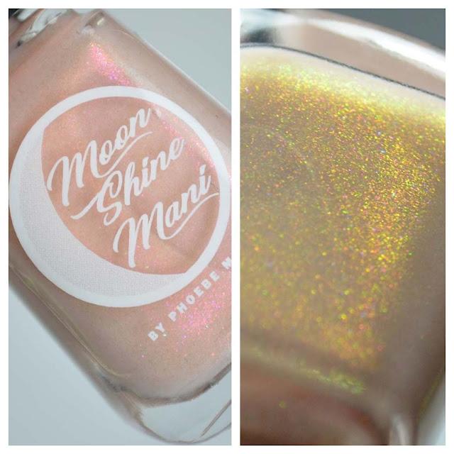 peach shimmer nail polish in a bottle