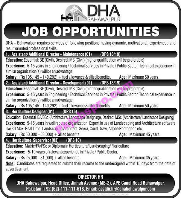 Defence Housing Authority (DHA) Bahawalpur Jobs 2021