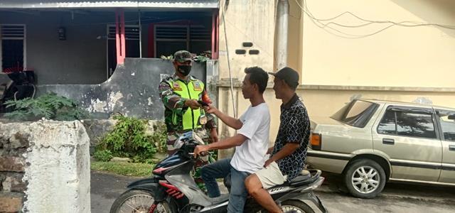 Tidak Bosannya Personel Jajaran Kdim 0207/Simalungun Laksanakan Penegakan Disiplin Protokol Kesehatan