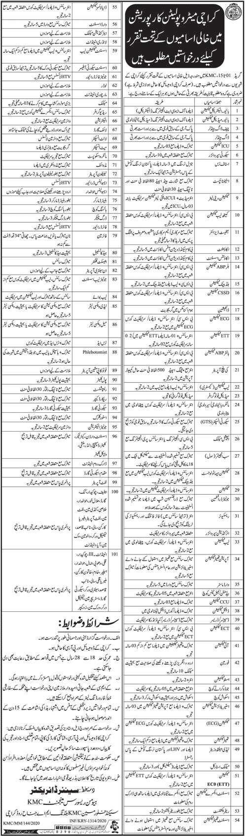 Karachi Metropolitan Corporation Jobs 24 May 2020