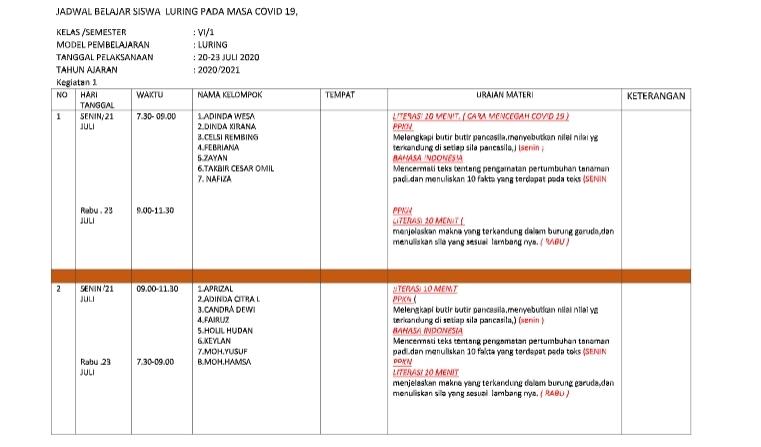 Contoh Jadwal Dan Laporan Pjj Luring Blog Pendidikan